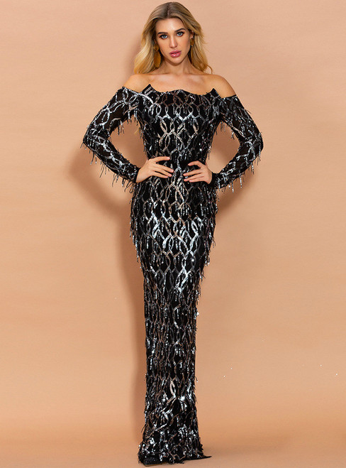 In Stock:Ship in 48 Hours Black Mermaid Tassel Sequins Party Dress