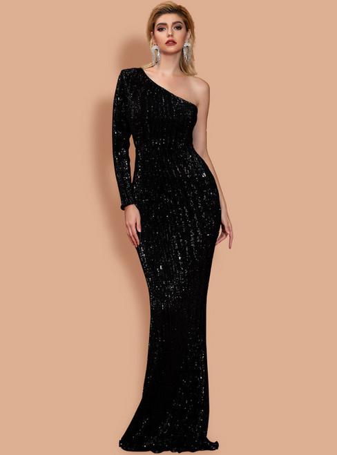 In Stock:Ship in 48 Hours Sexy Black Mermaid One Shoulder Party Dress