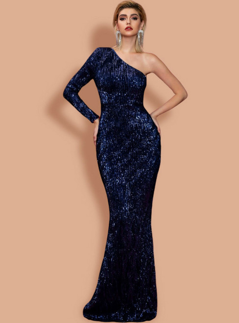 In Stock:Ship in 48 Hours Sexy Blue Mermaid One Shoulder Party Dress
