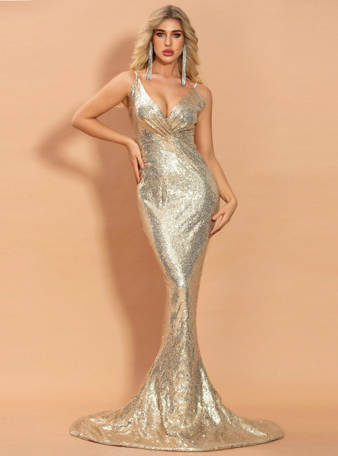 In Stock:Ship in 48 Hours Gold Mermaid Deep V-neck Sequins Party Dress
