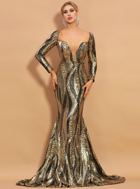 In Stock:Ship in 48 Hours Gold Mermaid Long Sleeve Party Dress