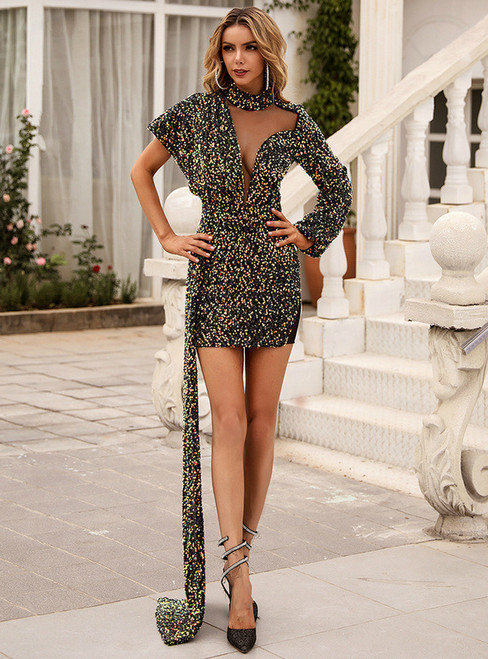 In Stock:Ship in 48 Hours Multicolour Sequins Mini Party Dress