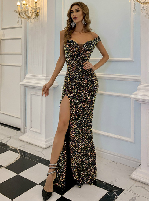 In Stock:Ship in 48 Hours Colorful Sequins Party Dress With Split