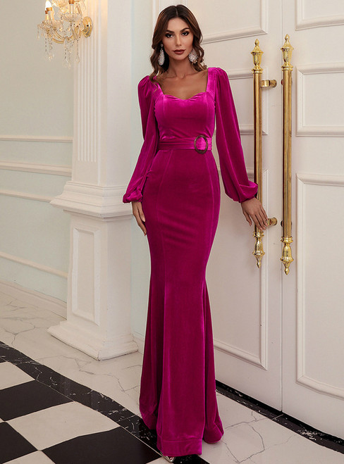 In Stock:Ship in 48 Hours Fuchsia Mermaid Velvet Long Sleeve Party Dress