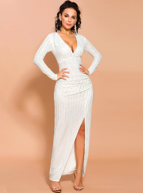 In Stock:Ship in 48 Hours White Sequins Deep V-neck Party Dress