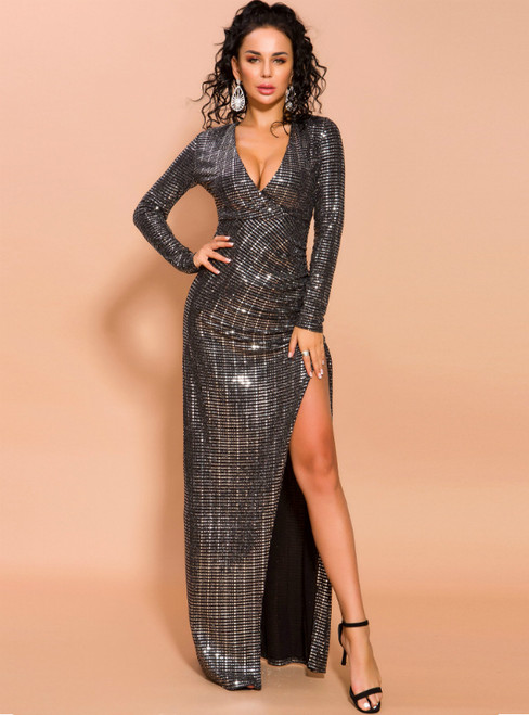 In Stock:Ship in 48 Hours Black Sequins Deep V-neck Party Dress