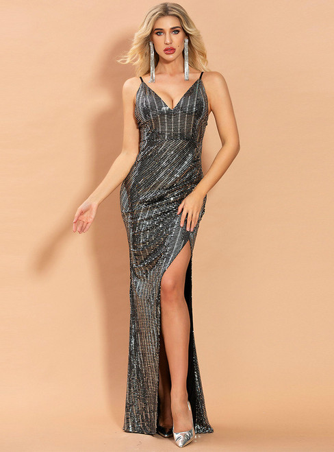 In Stock:Ship in 48 Hours Black Sequins V-neck Party Dress