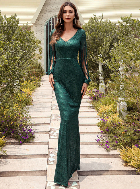 In Stock:Ship in 48 Hours Sexy Green Sequins V-neck Long Sleeve Party Dress
