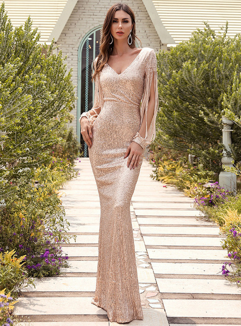 In Stock:Ship in 48 Hours Mermaid Sequins V-neck Party Dress