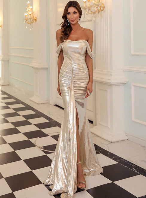 In Stock:Ship in 48 Hours Gold Mermaid Off the Shoulder Party Dress