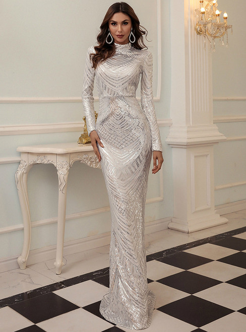In Stock:Ship in 48 Hour White Sequins Mermaid Party Dress