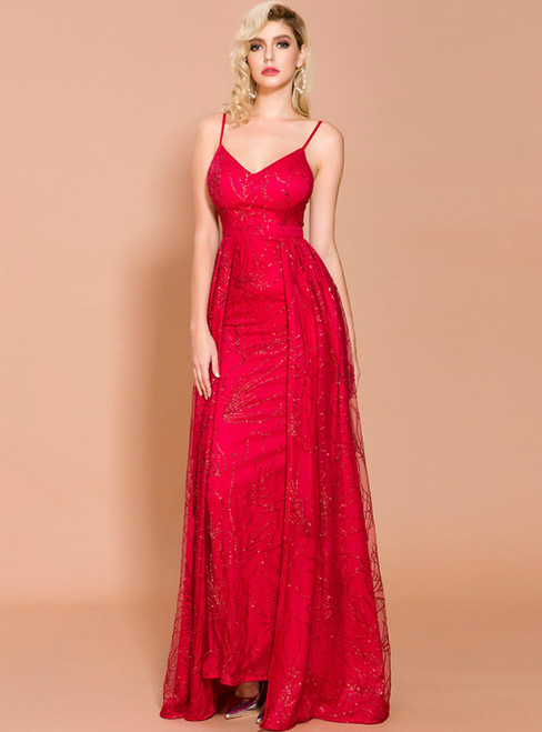 In Stock:Ship in 48 Hours Red Sequins Spaghetti Straps Party Dresst