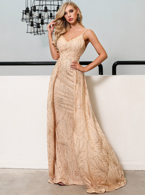 In Stock:Ship in 48 Hours Gold Sequins Spaghetti Straps Party Dress