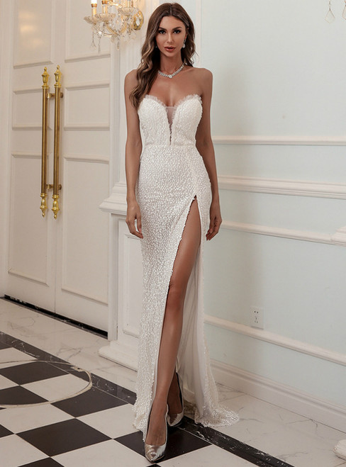 In Stock:Ship in 48 Hours White Mermaid Sweetheart Party Dress With Split