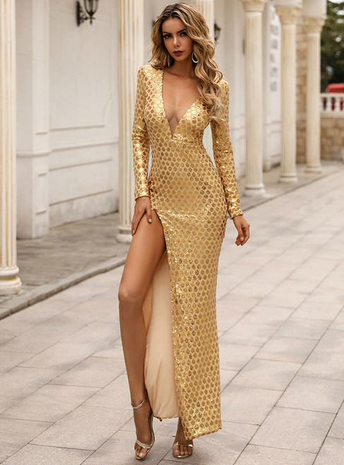 In Stock:Ship in 48 Hours Gold V-neck Long Sleeve Party Dress