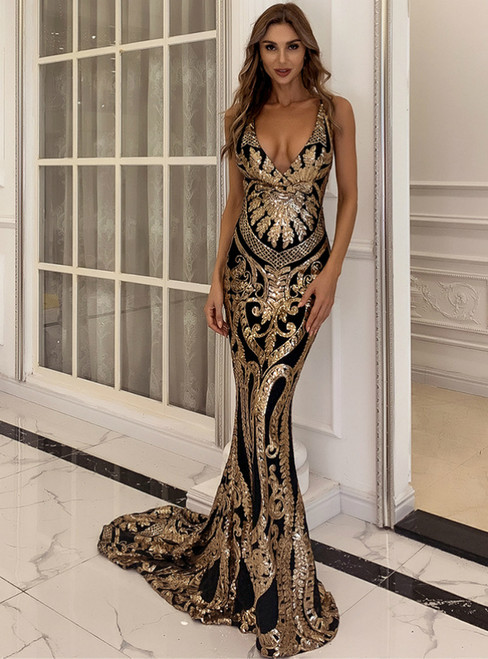 In Stock:Ship in 48 Hours Gold Mermaid Geometric Figure Sequins Party Dress