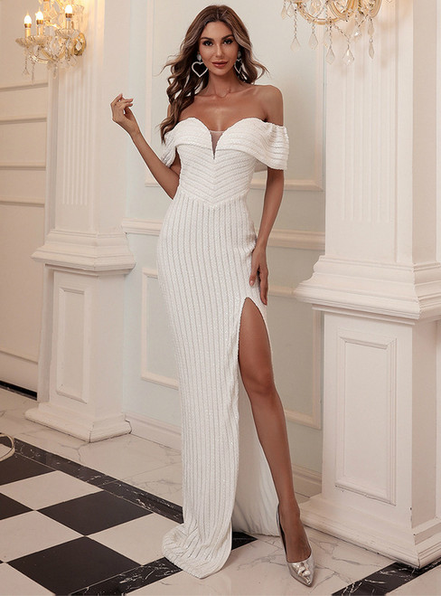 In Stock:Ship in 48 Hours White Sequins Party Dress With Side Split