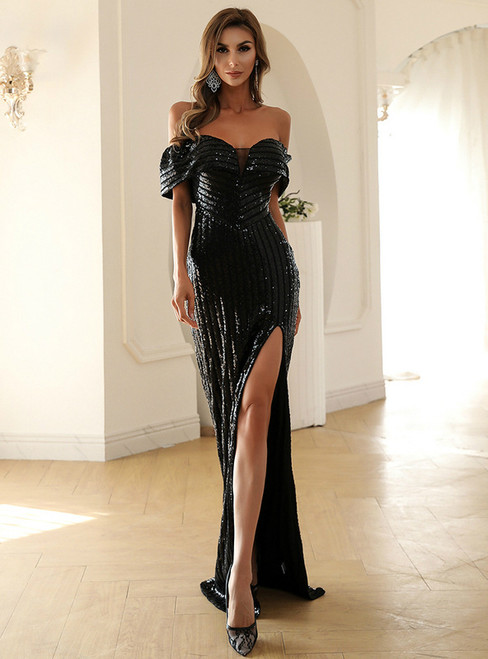 In Stock:Ship in 48 Hours Black Sequins Party Dress With Side Split