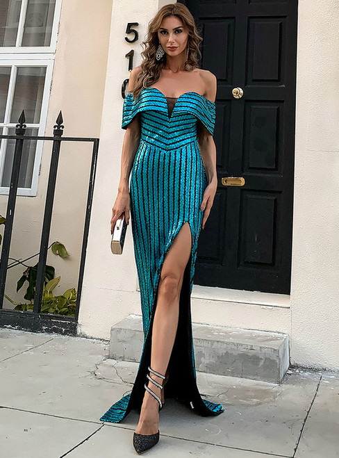 In Stock:Ship in 48 Hours Blue Sequins Party Dress With Side Split