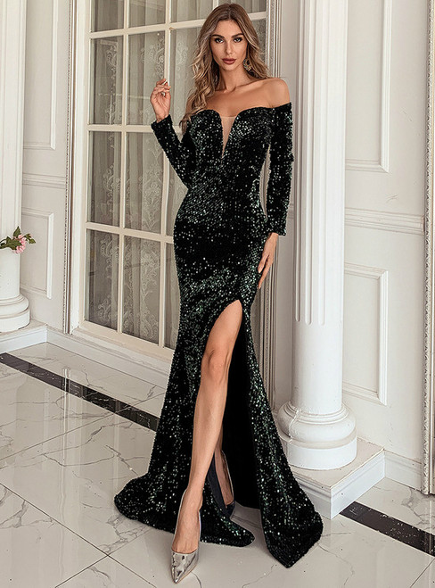In Stock:Ship in 48 Hours Green Mermaid Off the Shoulder Party Dress