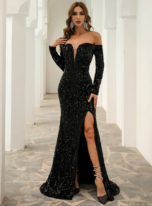 In Stock:Ship in 48 Hours Black Mermaid Off the Shoulder Party Dress