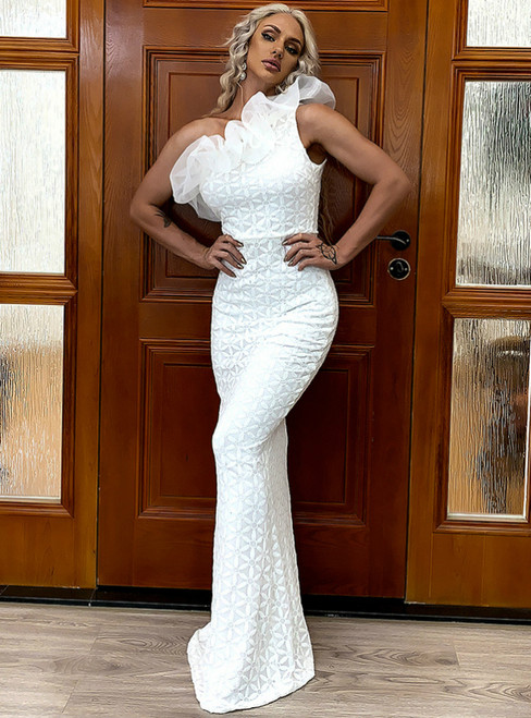 In Stock:Ship in 48 Hours White Mermaid Lace One Shoulder Party Dress
