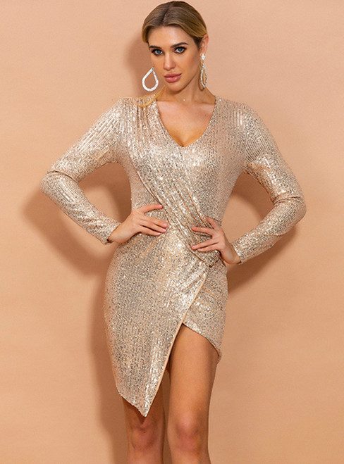 In Stock:Ship in 48 Hours Gold Sequins Short Party Dress