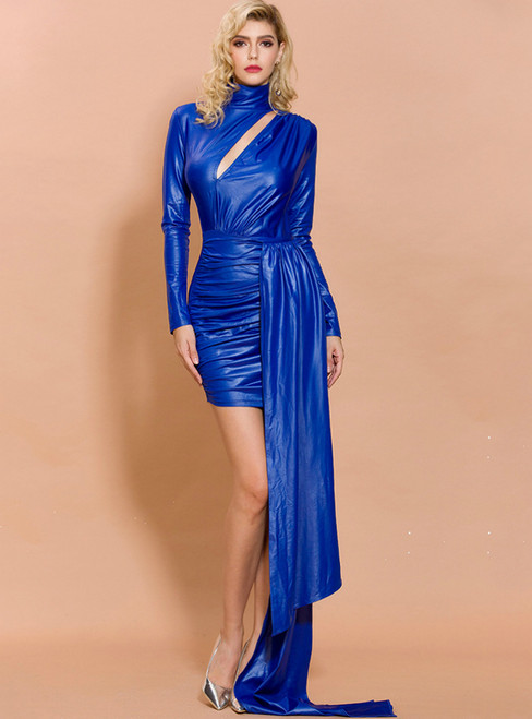 In Stock:Ship in 48 Hours Blue Satin High Neck Long Sleeve Party Dress