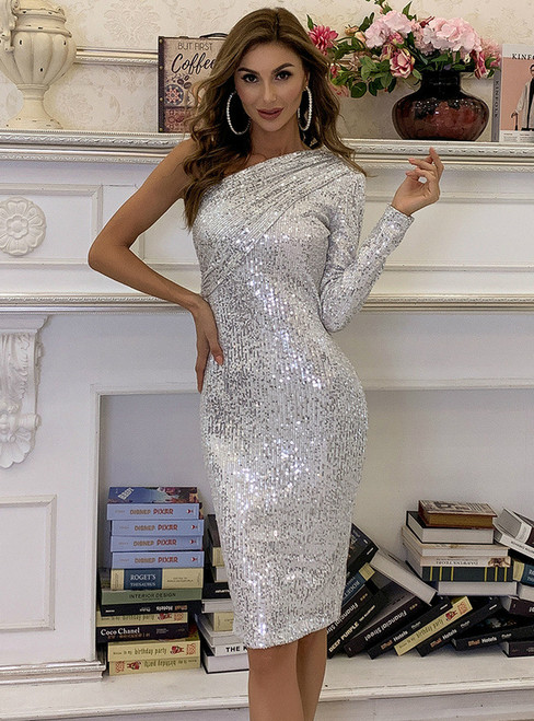 In Stock:Ship in 48 Hours Silver Sequins Party Dress