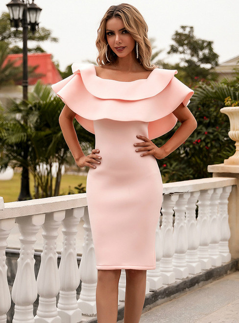 In Stock:Ship in 48 Hours Pink Sheath Off the Shoulder Party Dress