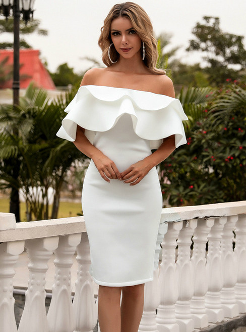 In Stock:Ship in 48 Hours White Sheath Off the Shoulder Party Dress