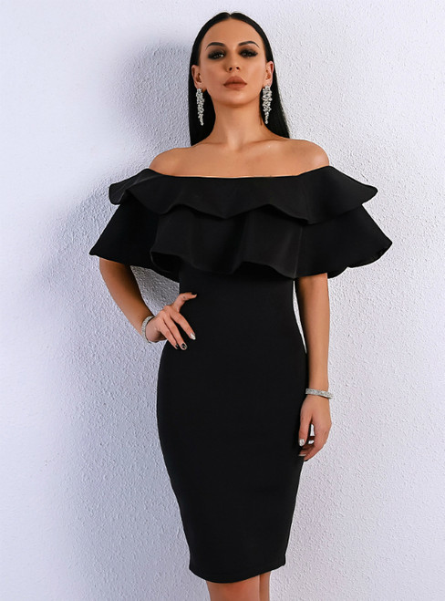 In Stock:Ship in 48 Hours Black Sheath Off the Shoulder Party Dress
