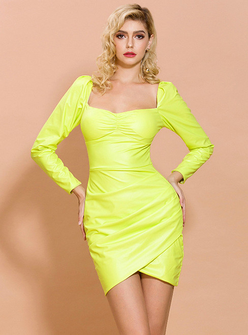 In Stock:Ship in 48 Hours Green Square Long Sleeve Party Dress