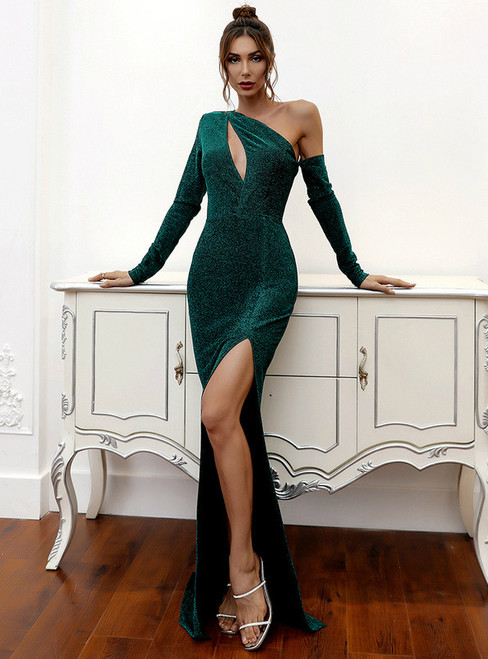 In Stock:Ship in 48 Hours Green Irregular One Shoulder Party Dress