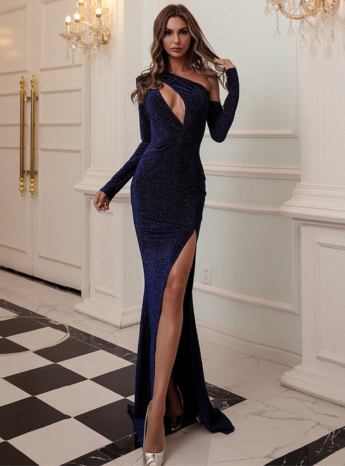 In Stock:Ship in 48 Hours Blue Irregular One Shoulder Party Dress