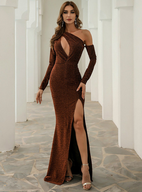 In Stock:Ship in 48 Hours Brown Irregular One Shoulder Party Dress