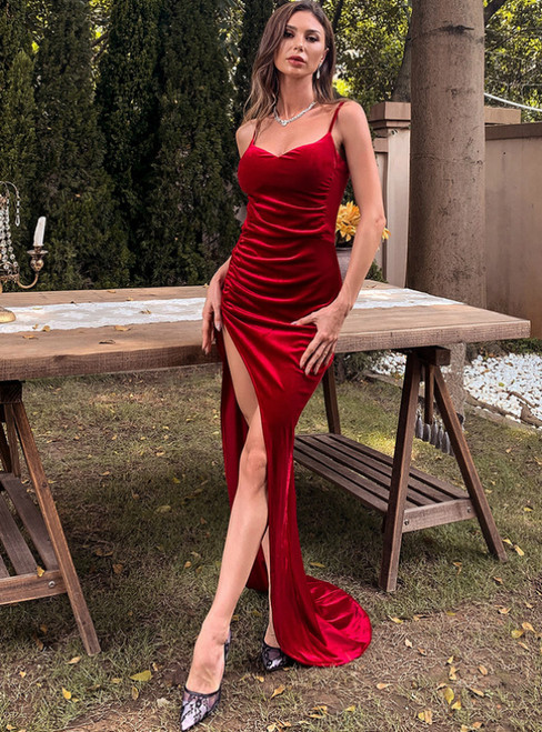 In Stock:Ship in 48 Hours Red Velvet Spaghetti Straps Party Dress