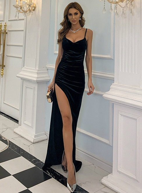 In Stock:Ship in 48 Hours Black Velvet Spaghetti Straps Party Dress