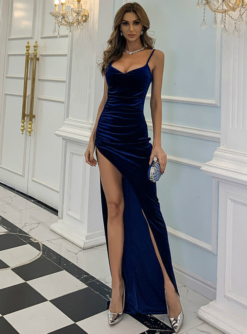 In Stock:Ship in 48 Hours Blue Velvet Spaghetti Straps Party Dress