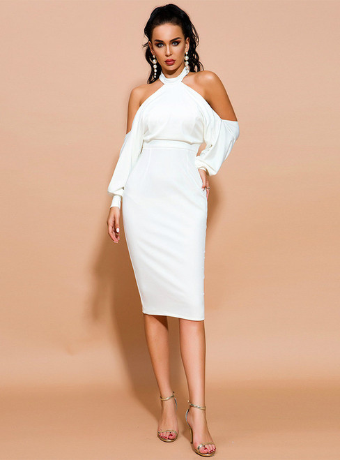 In Stock:Ship in 48 Hours White Halter Cold Shoulder Party Dress