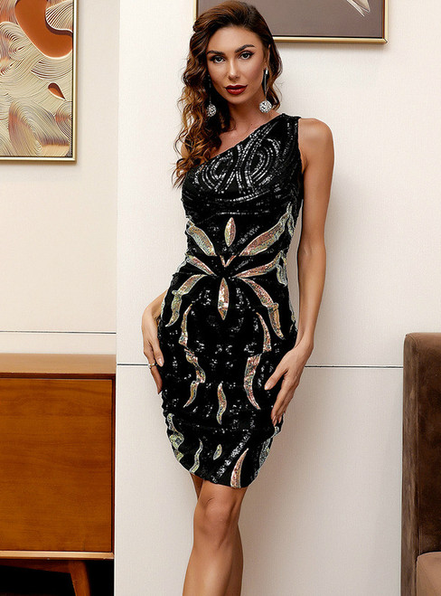 In Stock:Ship in 48 Hours Black Sequins One Shoulder Party Dress