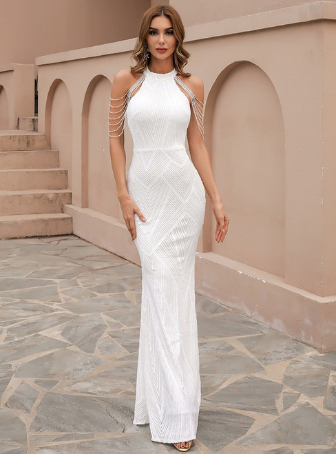 In Stock:Ship in 48 Hours White Mermaid Halter Sequins Party Dress