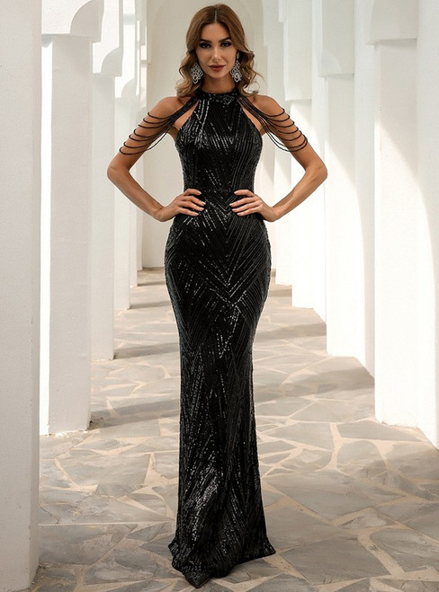 In Stock:Ship in 48 Hours Black Mermaid Halter Sequins Party Dress