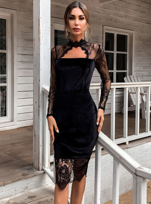 In Stock:Ship in 48 Hours Black Velvet Lace Long Sleeve Party Dress