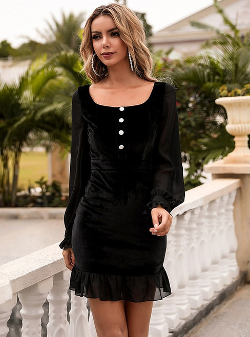 In Stock:Ship in 48 Hours Black Velvet Long Sleeve Party Dressl