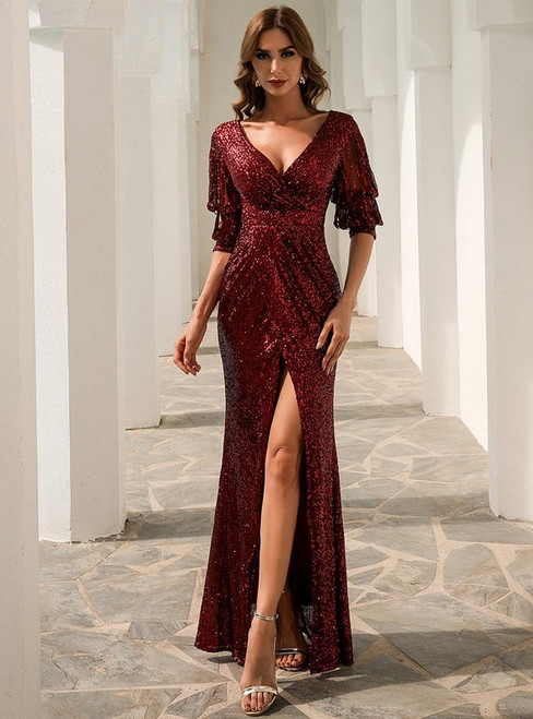In Stock:Ship in 48 Hours Burgundy Sequins V-neck Party Dress