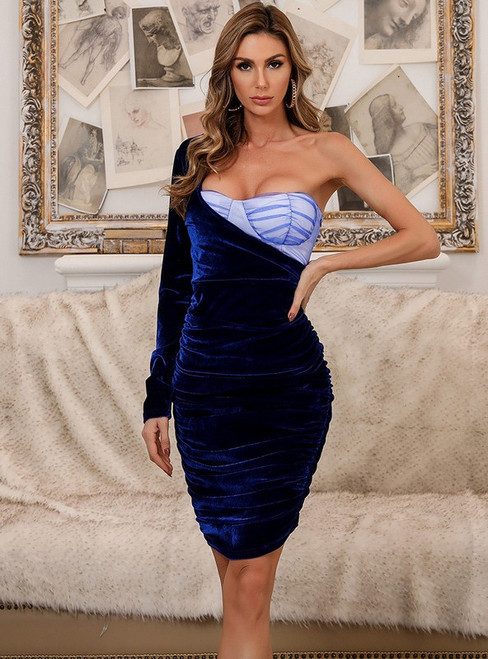 In Stock:Ship in 48 Hours Blue Velvet Long Sleeve Party Dress