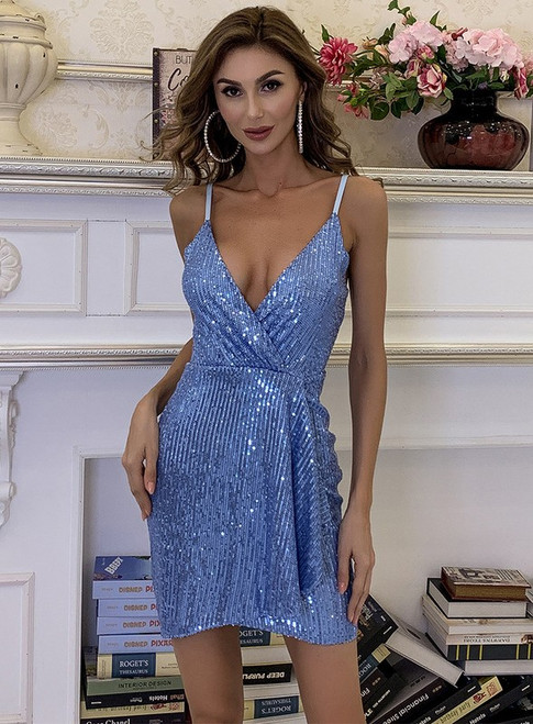 In Stock:Ship in 48 Hours Blue Sequins Short Party Dress