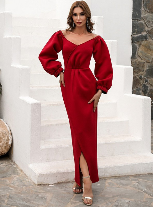 In Stock:Ship in 48 Hours Burgundy Long Sleeve Party Dress
