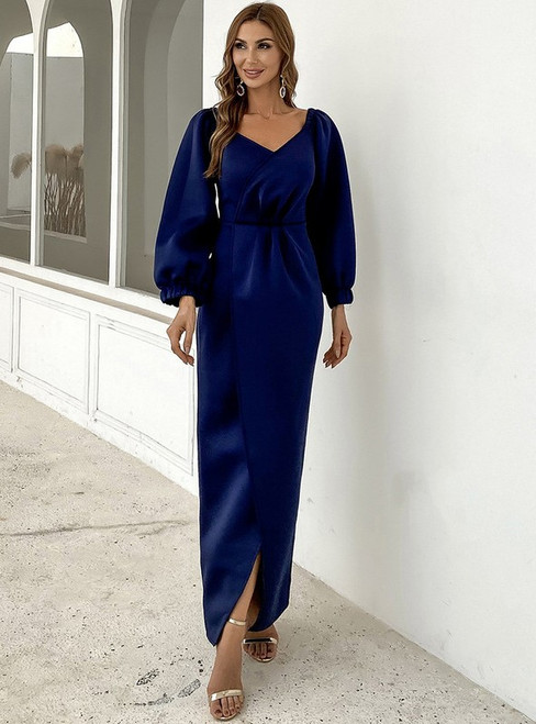 In Stock:Ship in 48 Hours Blue Long Sleeve Party Dress